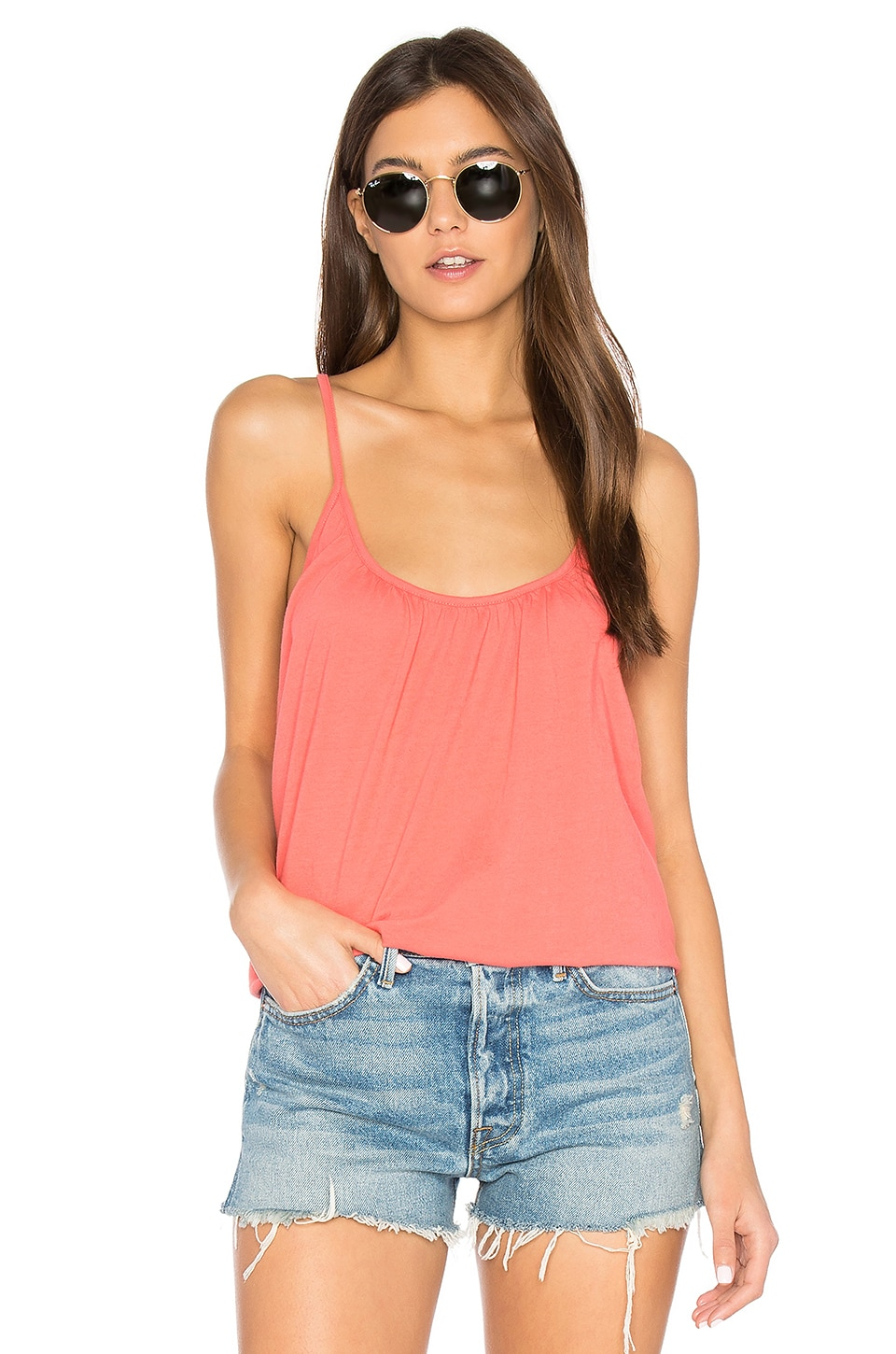 Cross Back Shirred Cami by Chaser