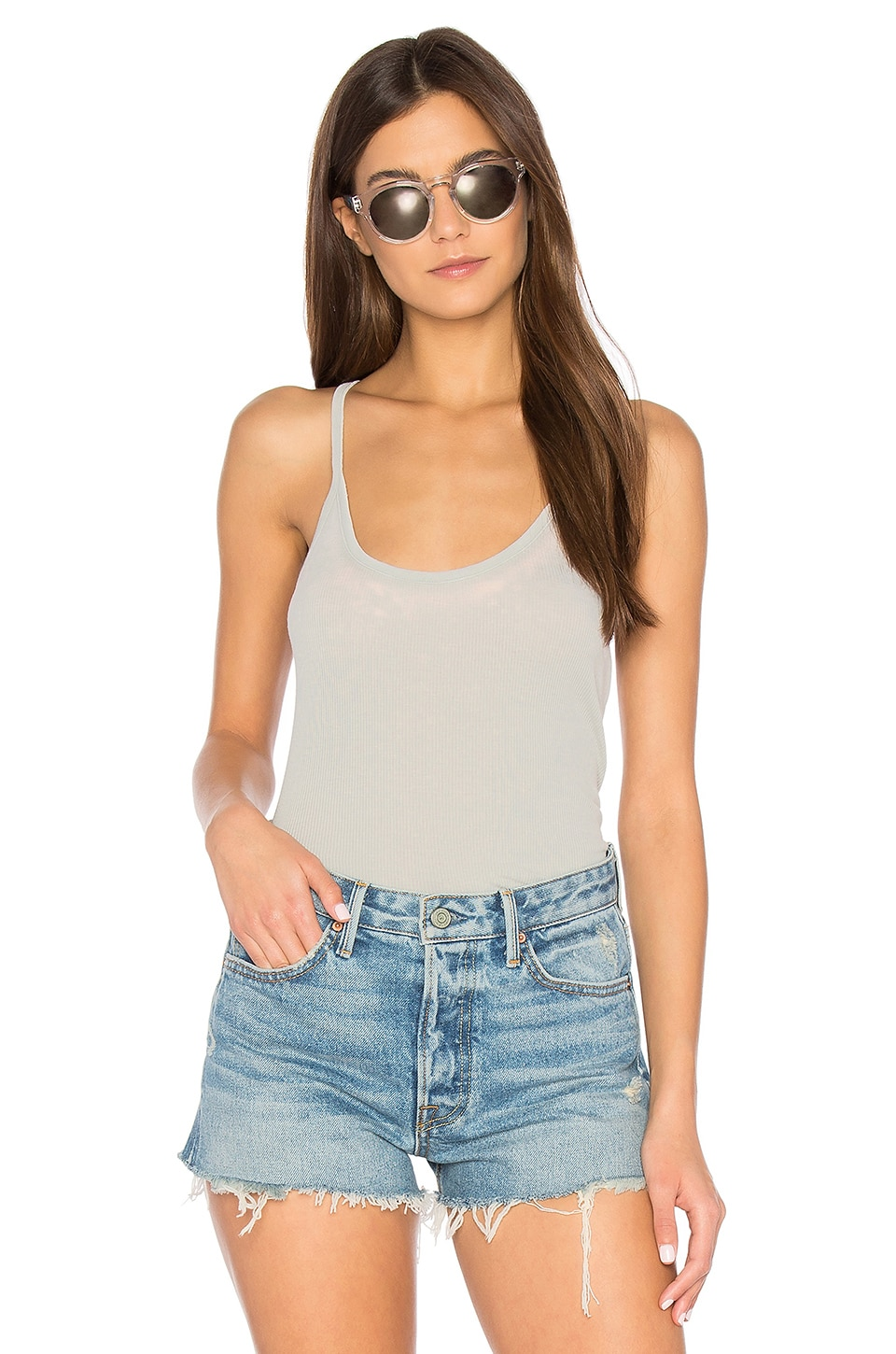 Chaser Rib T-Back Cami in Cool Grey