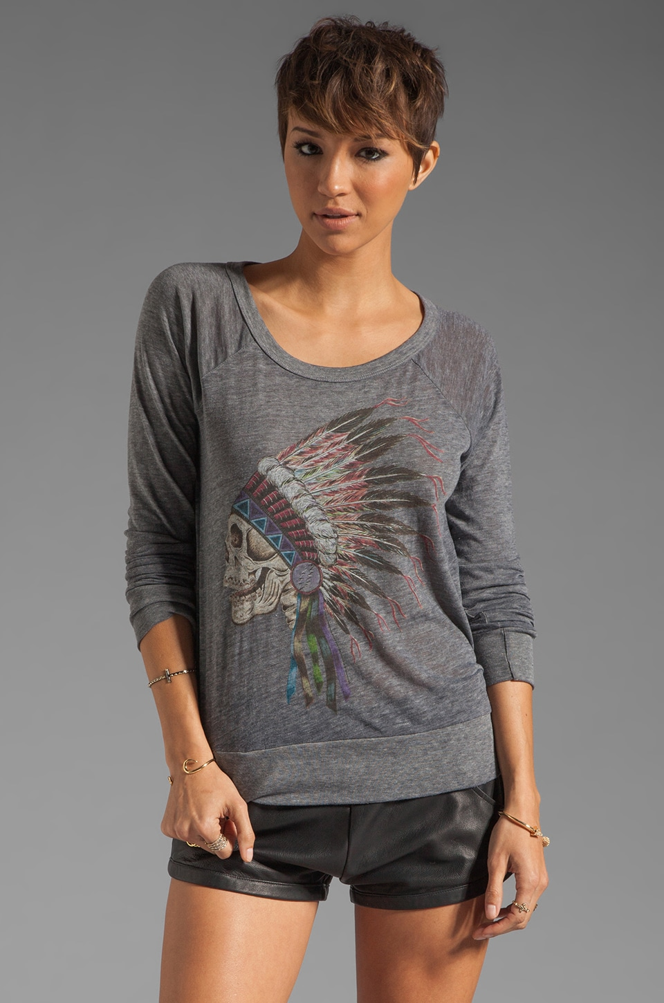 Chaser Dead Chief Raglan in Triblend Heather Grey