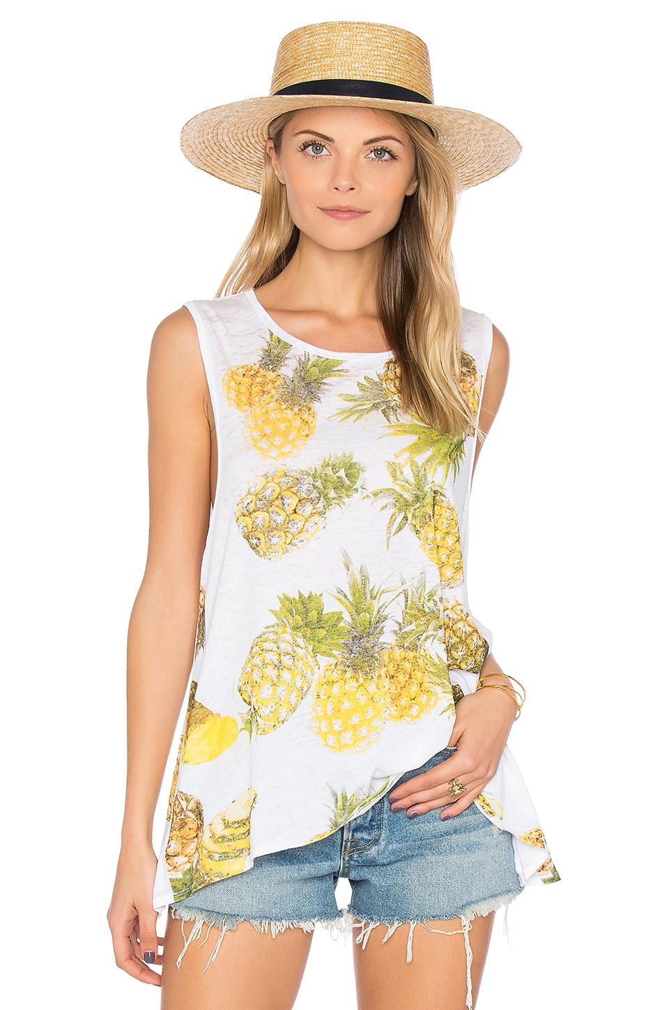 Chaser Pineapples Flounce Tank in White