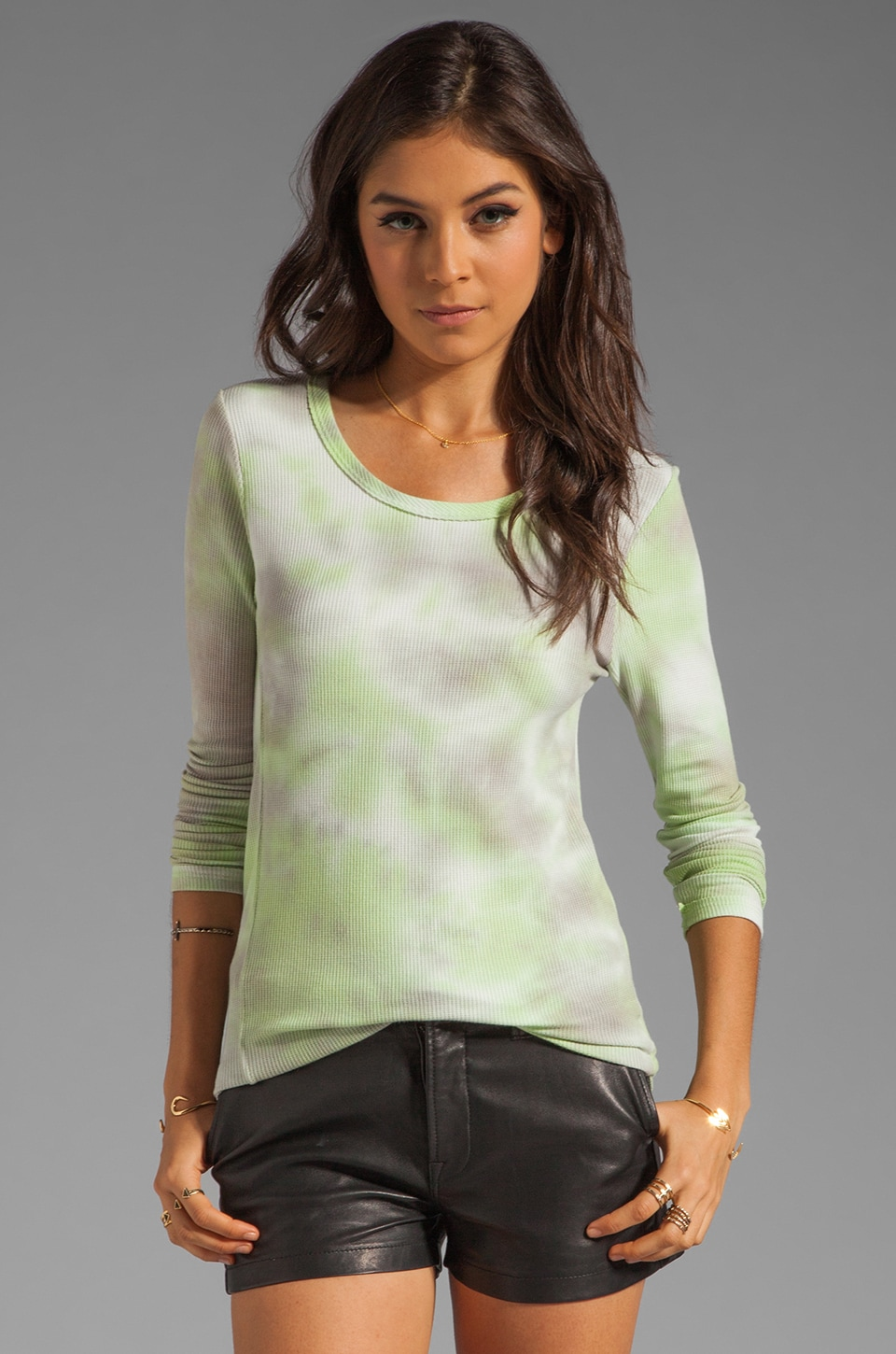 Chaser Tie Dye Thermal Henley in Metal/Zuma