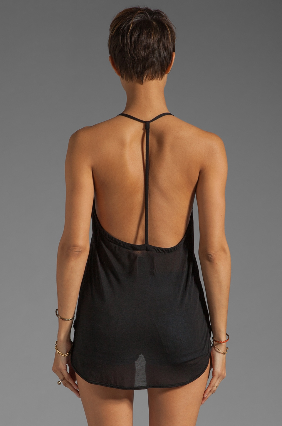 Chaser Liquid Jersey T-Back Cami in Black
