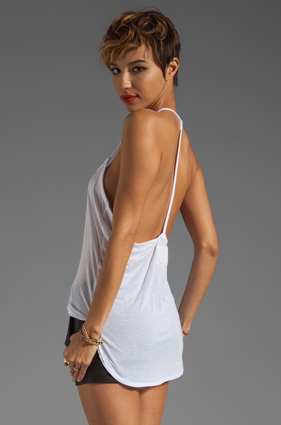 Chaser Liquid Jersey T-Back Cami in White