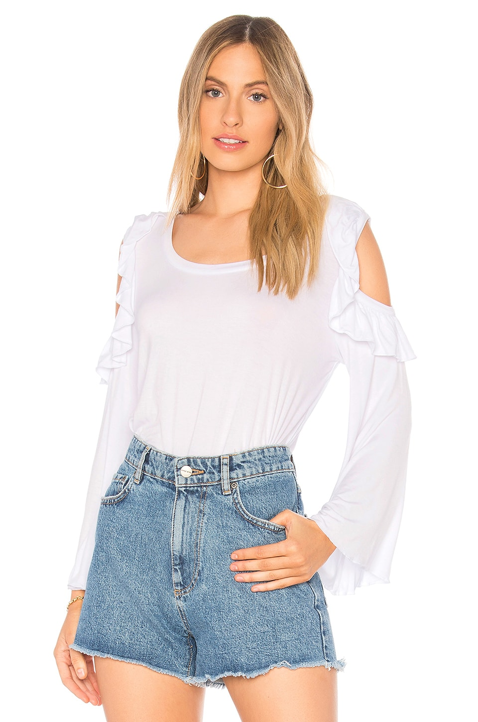 Chaser Cool Jersey Bell Sleeve Ruffle Tee in White