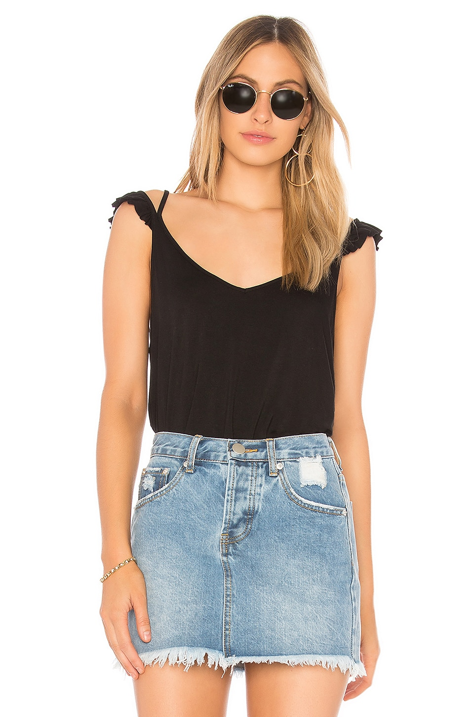 Ruffle Cami in Black. - size L (also in M,S,XS) Chaser