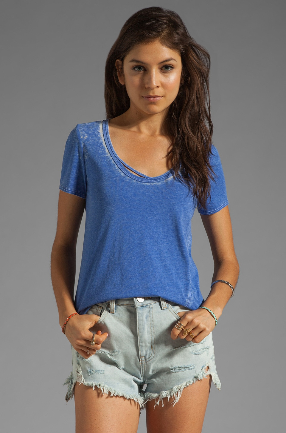 Chaser Vintage Jersey Double Binded Neckline Tee in Goddess