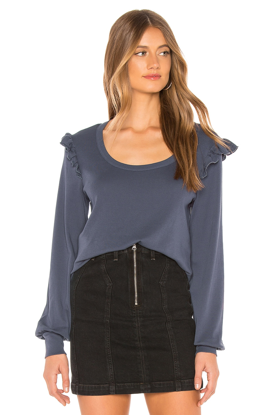 Chaser Baby Rib Ruffle Pullover in Blue Jay