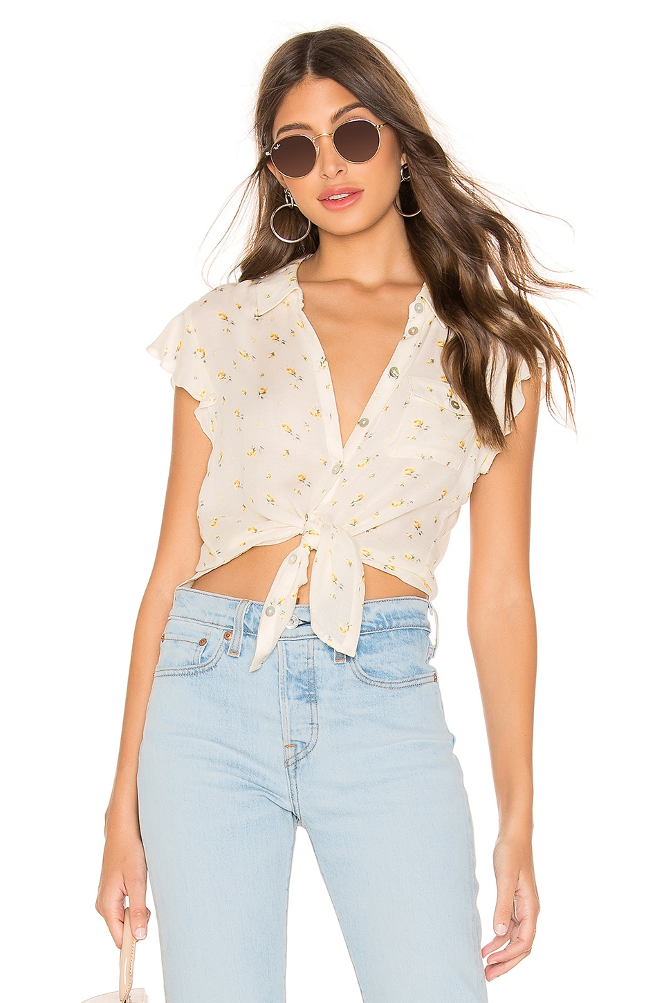 Chaser Flutter Sleeve Button Down Shirttail Blouse in Rosette