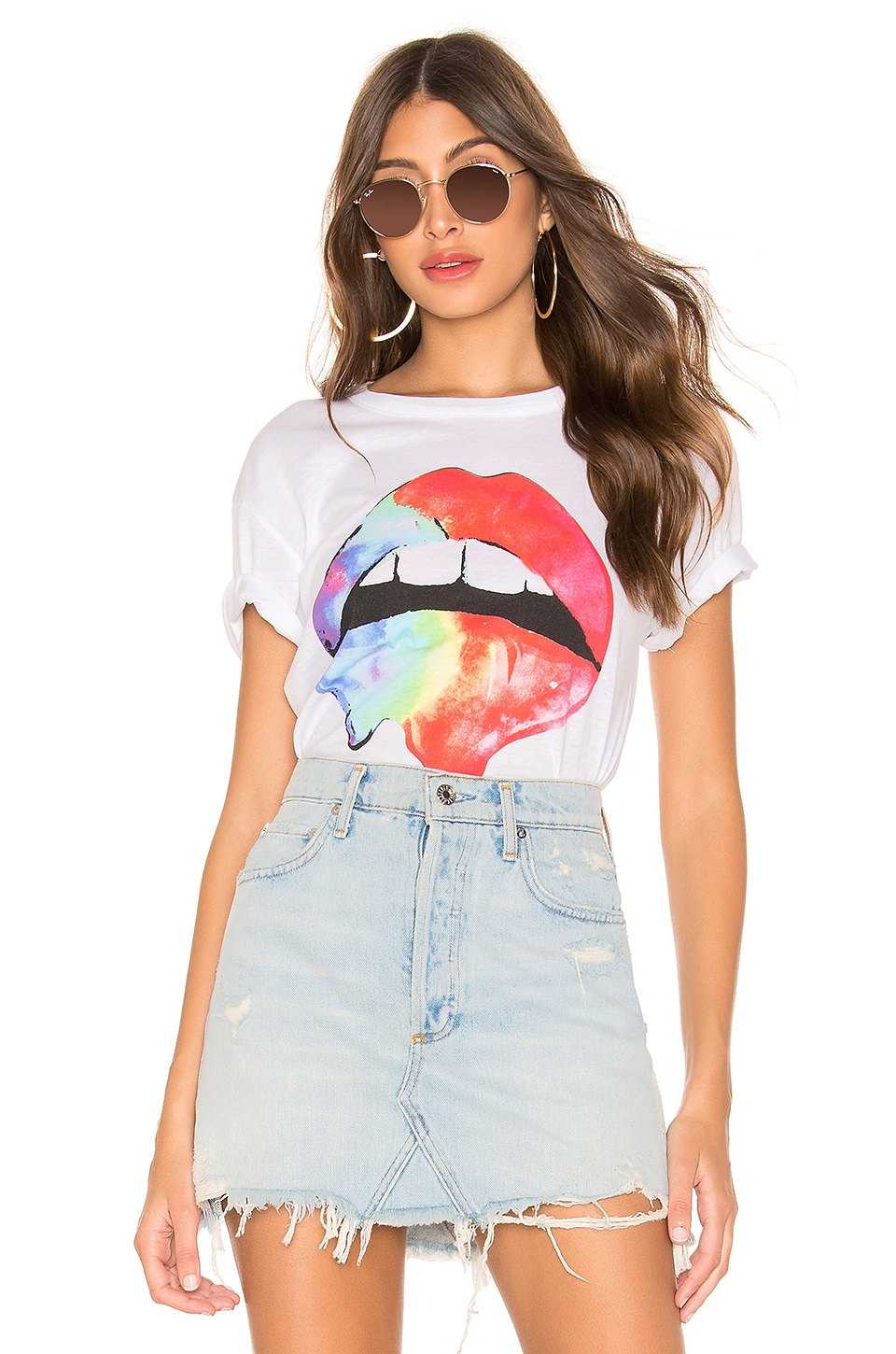 Chaser Rainbow Lips Tee in Rainbow Lips