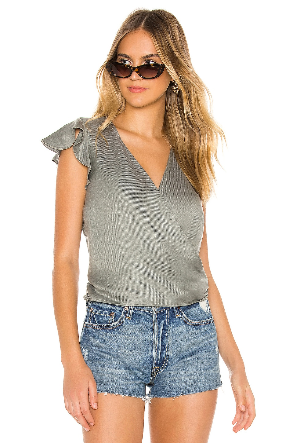 Chaser Flutter Wrap Crop Top in Scout