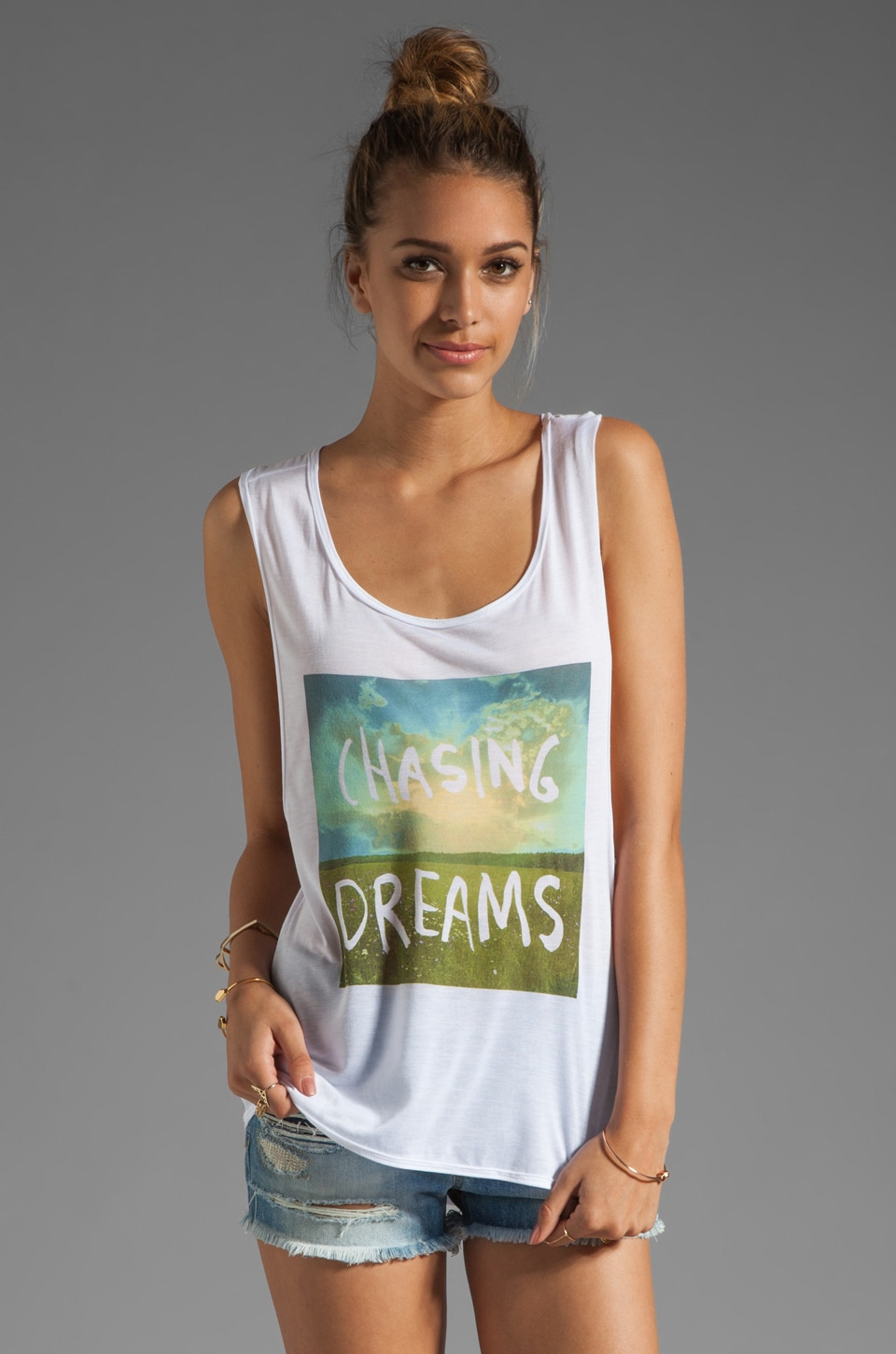 Chaser Chasing Dreams Hi Lo Muscle Tee in White