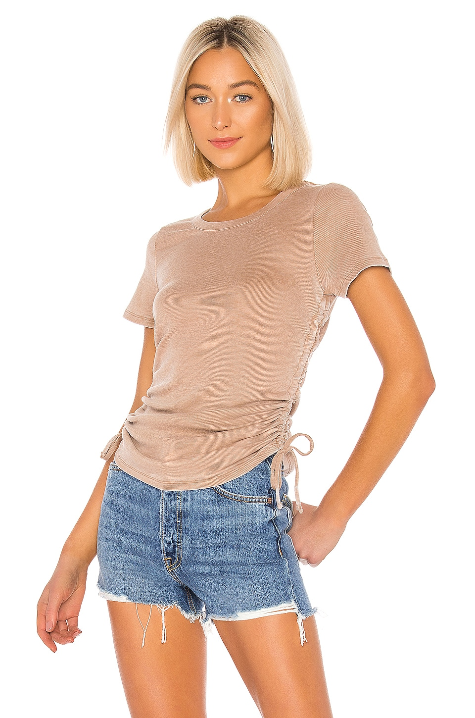 Chaser Ruched Drawstring Side Tee in Terra