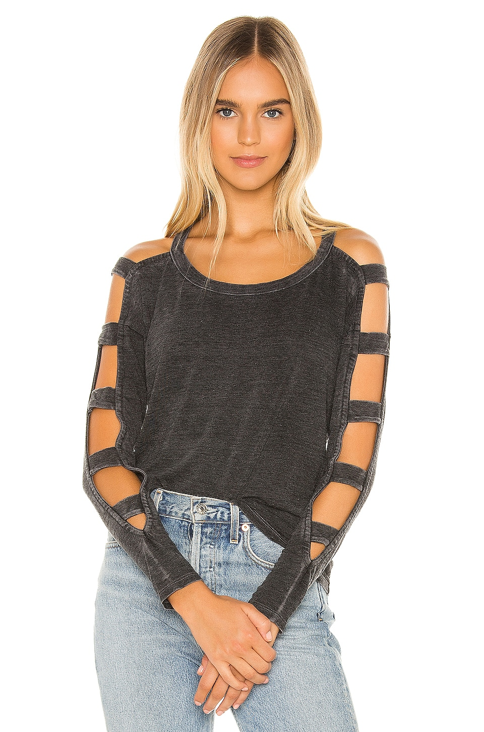 Chaser Strappy Cutout Long Sleeve Tee in Black