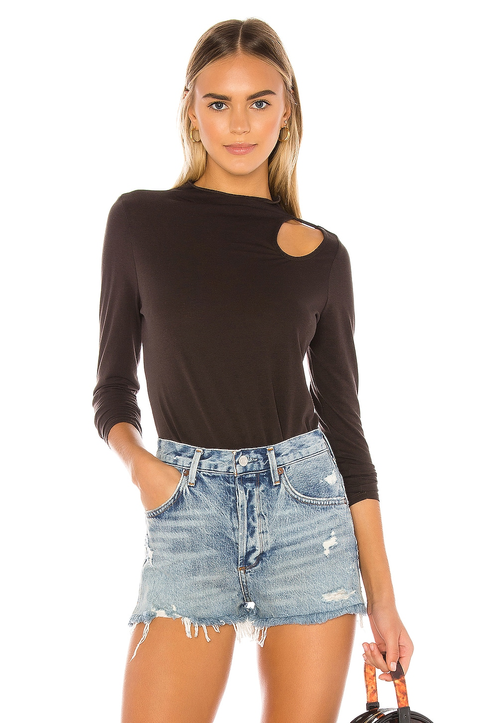 Chaser Long Sleeve Vented Shoulder Tee in Union Black
