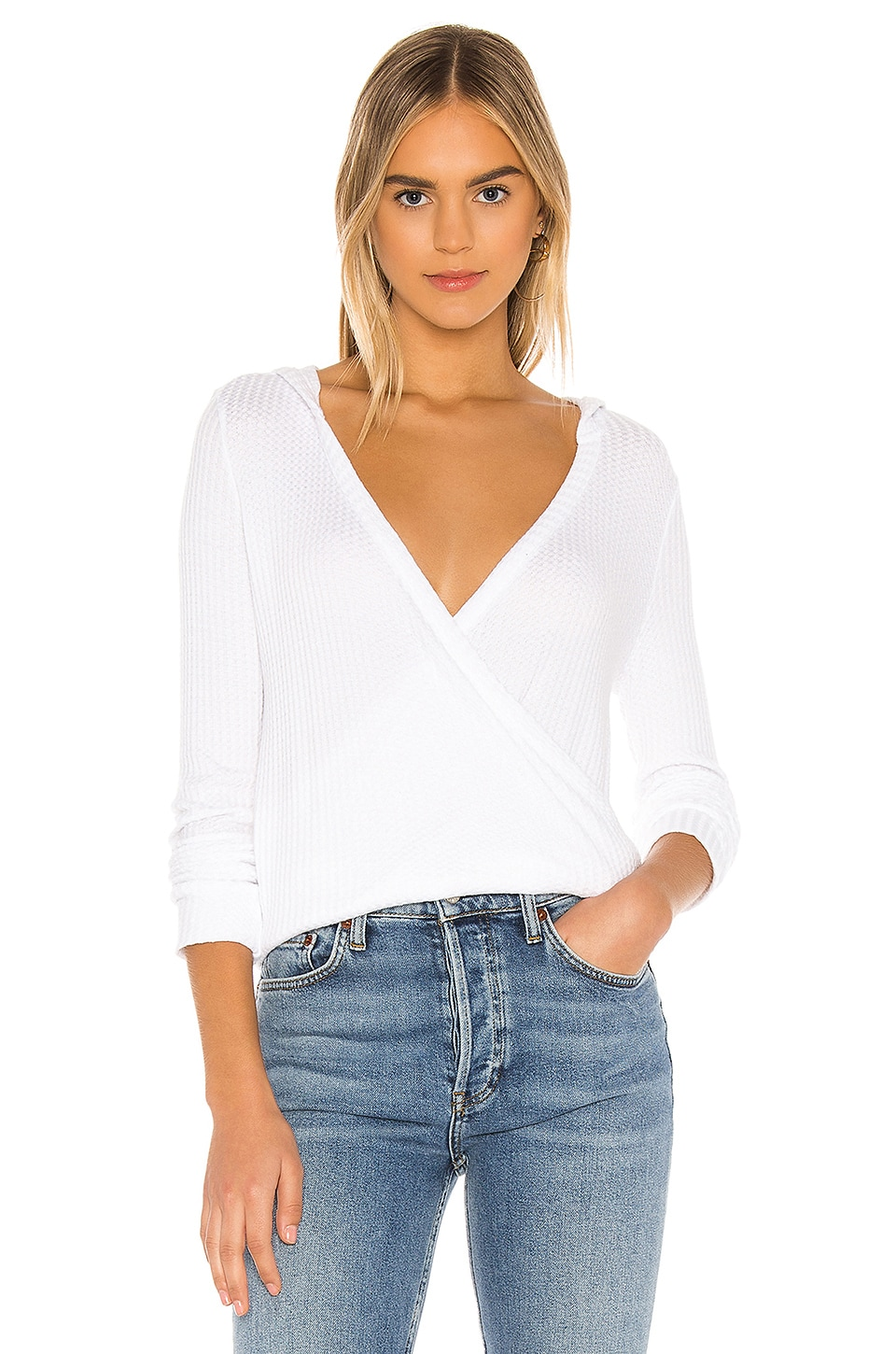 Chaser Hooded Surplice Pullover in White