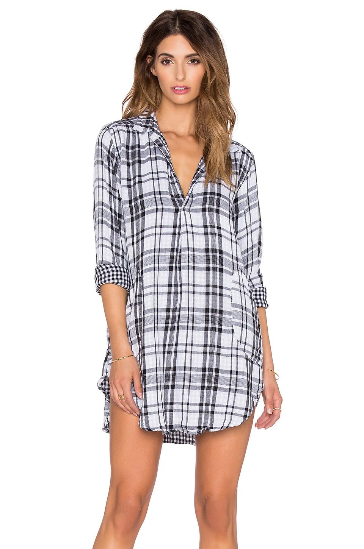 CP SHADES Teton Tunic Dress in Black & White Plaid