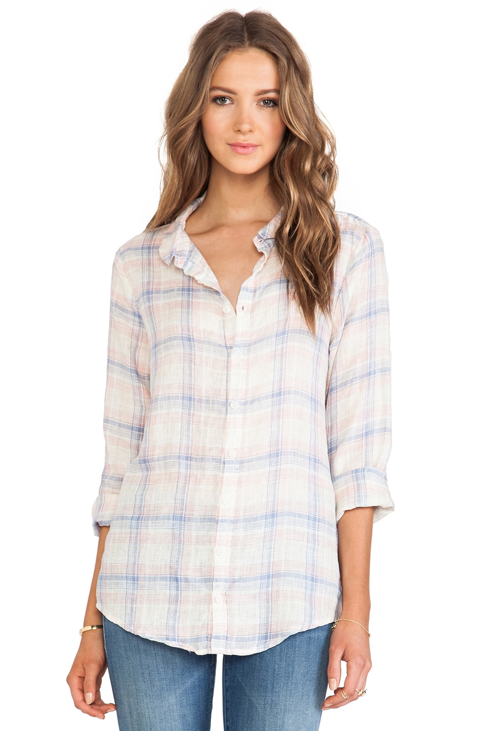 CP SHADES Sophia Plaid Shirt in Peach