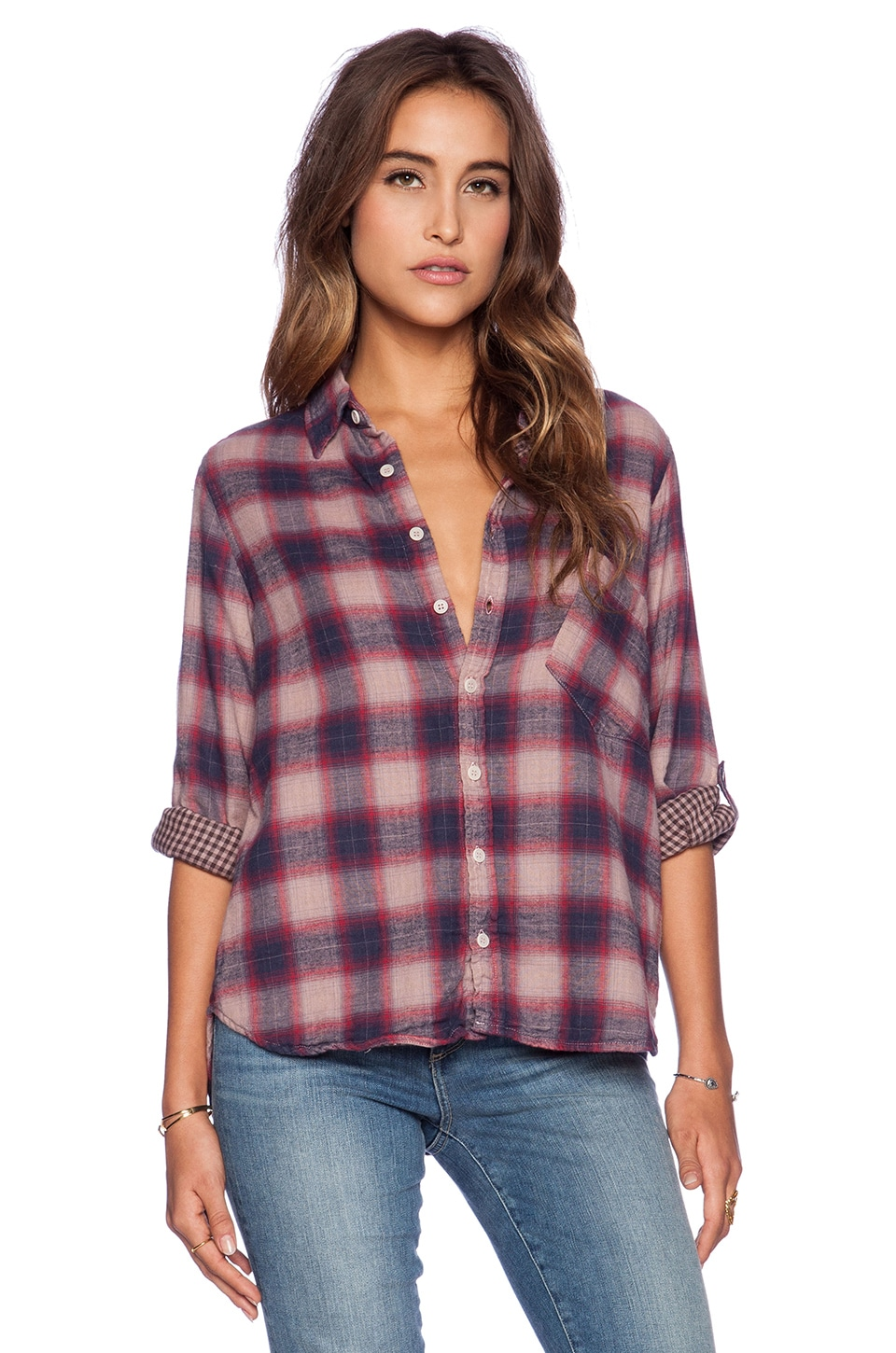 CP SHADES Jay Plaid Button Up in Tulip