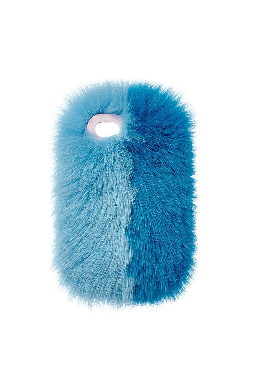 Charlotte Simone Phone Fluff Faux Fur IPhone 7/8 Case in Pastel Blue & True Blue