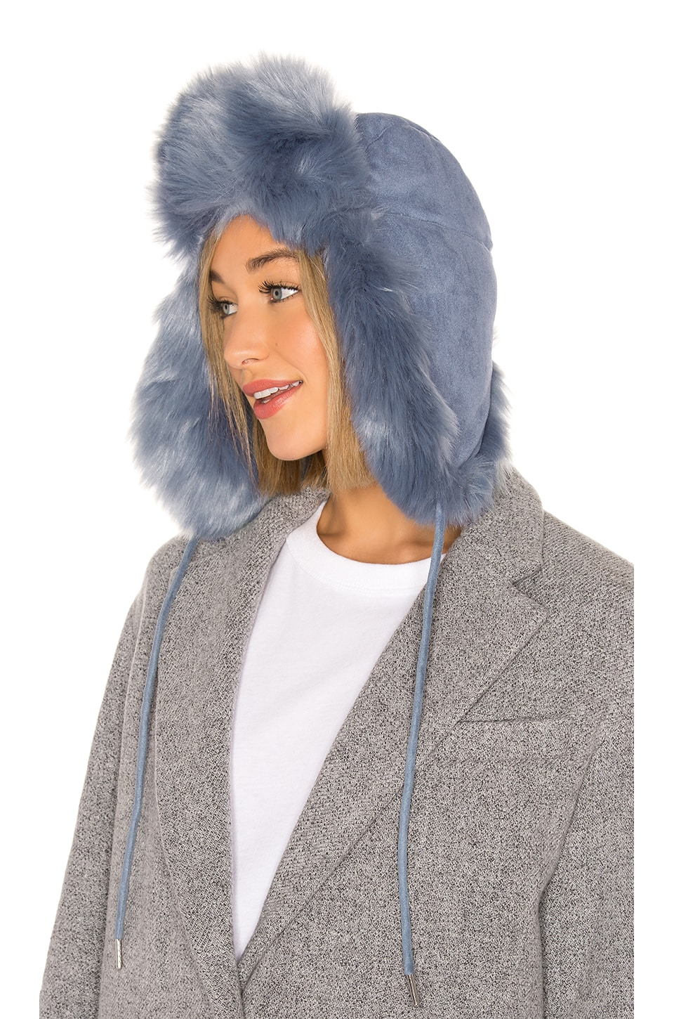 Charlotte Simone Fashion Helmut Faux Fur Hat in Denim Blue