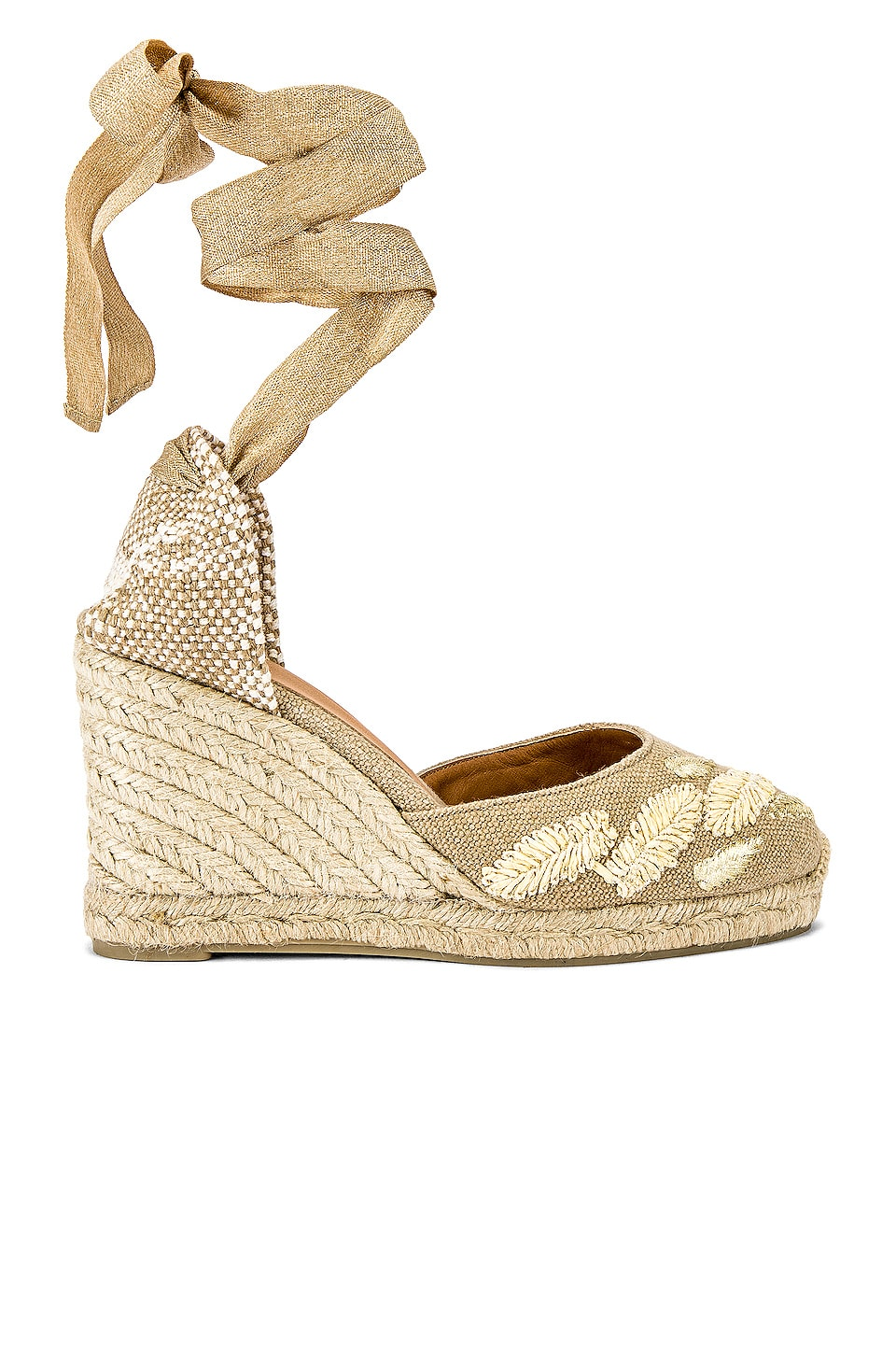 Castaner Carina Wedge in Natural & Oro