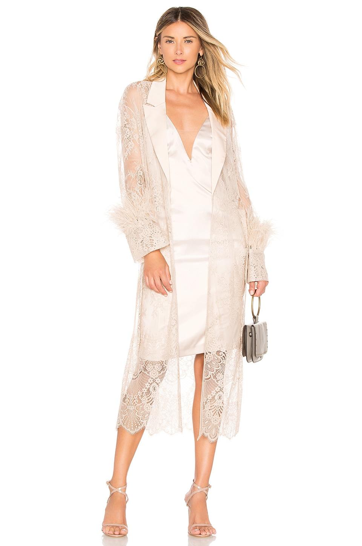 Chrissy Teigen x REVOLVE Jet Lagged Bed Jacket in Champagne