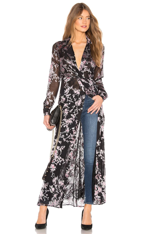 Chrissy Teigen x REVOLVE Brooklyn Maxi Top in Black Blossom Print