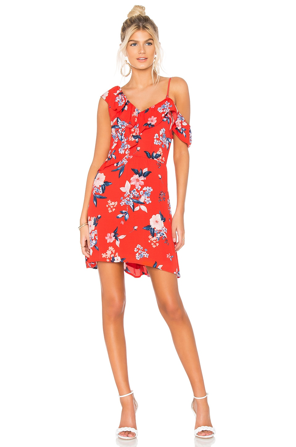 CUPCAKES AND CASHMERE Cordetta Asymmetric Ruffled Floral-Print Dress in Red
