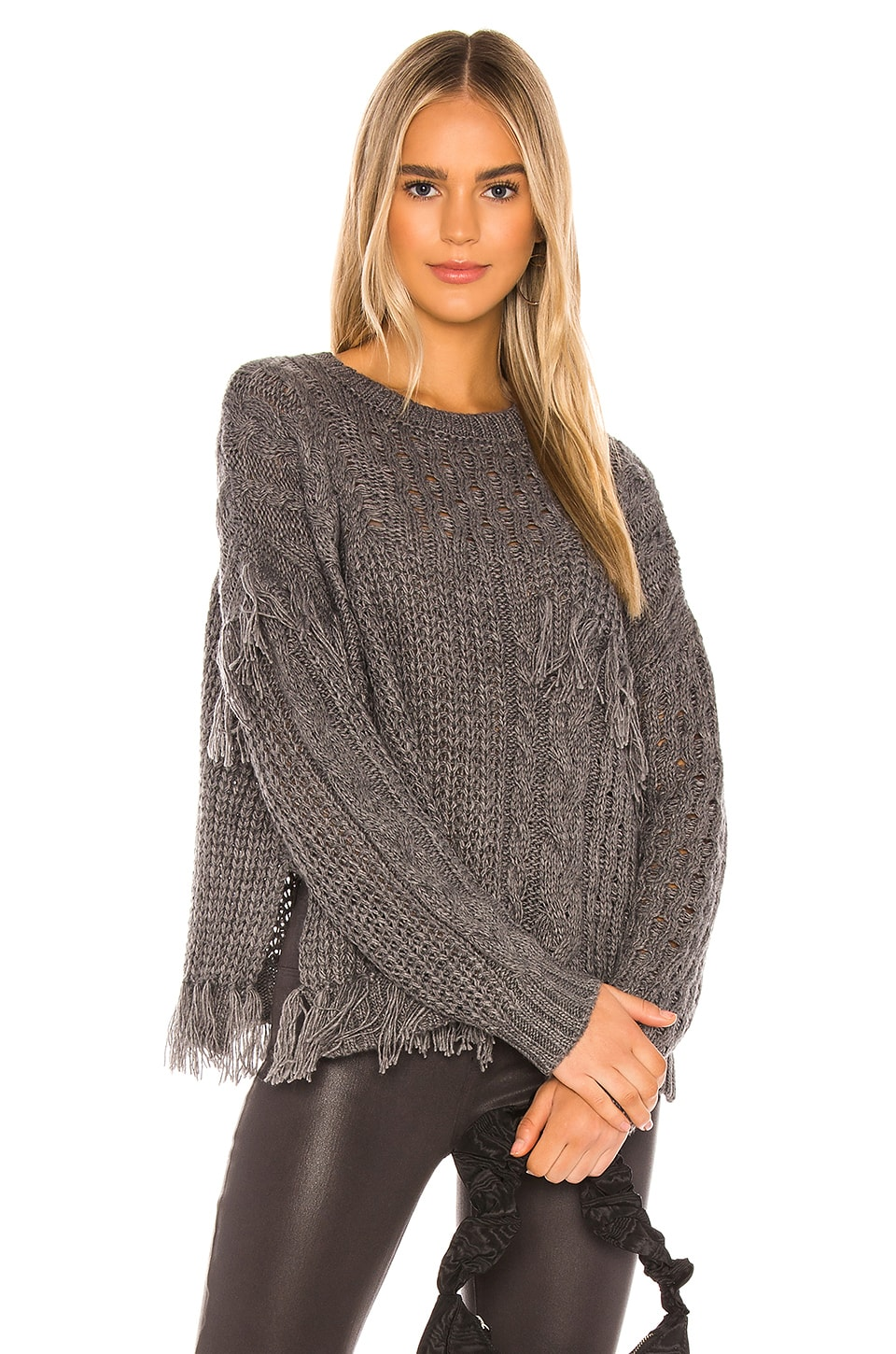 cupcakes and cashmere Romy Pullover in Medium Heather Grey