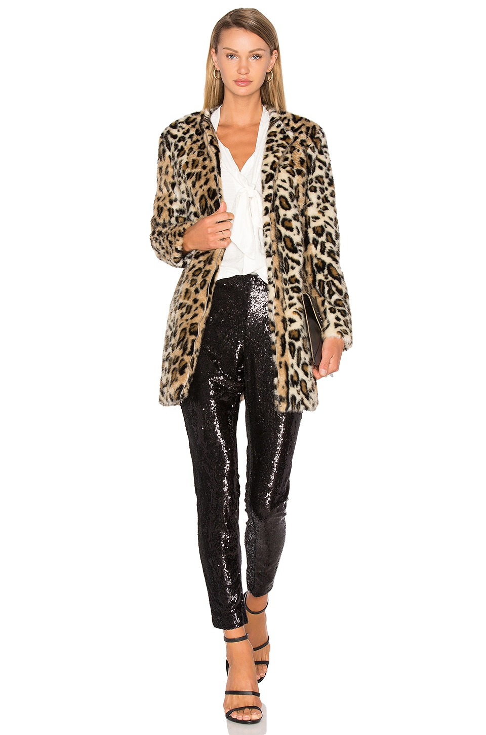 cupcakes and cashmere Elvina Faux Fur Jacket in Natural