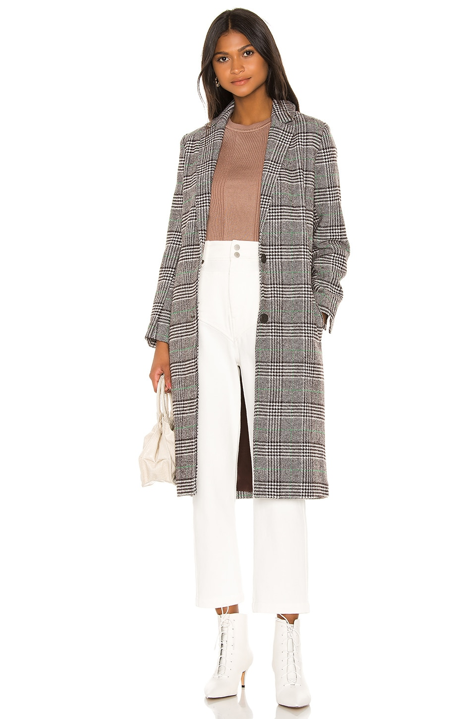 cupcakes and cashmere Oxford Checked Coat in Grey Check