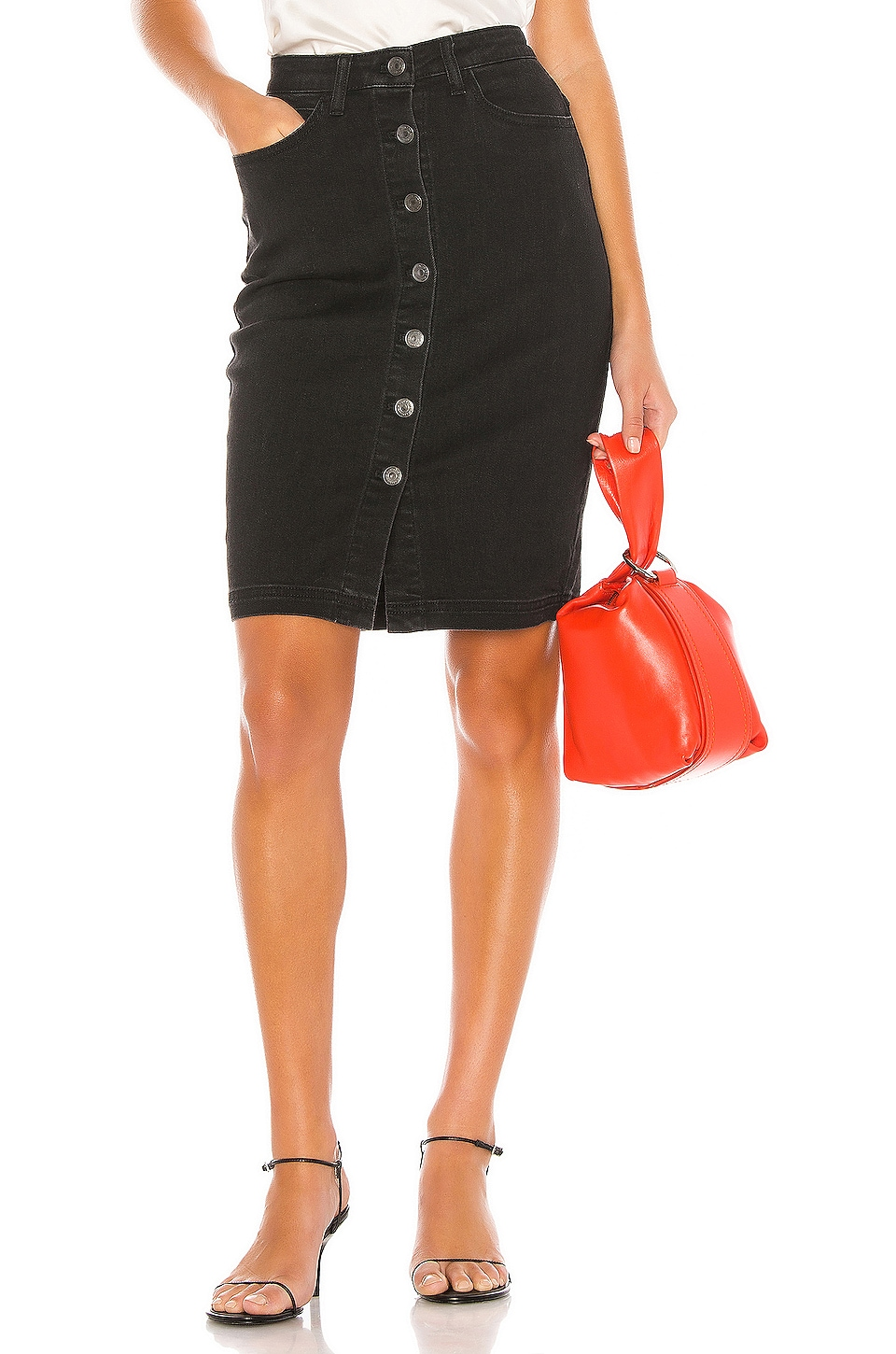cupcakes and cashmere Illona Denim Pencil Skirt in Black