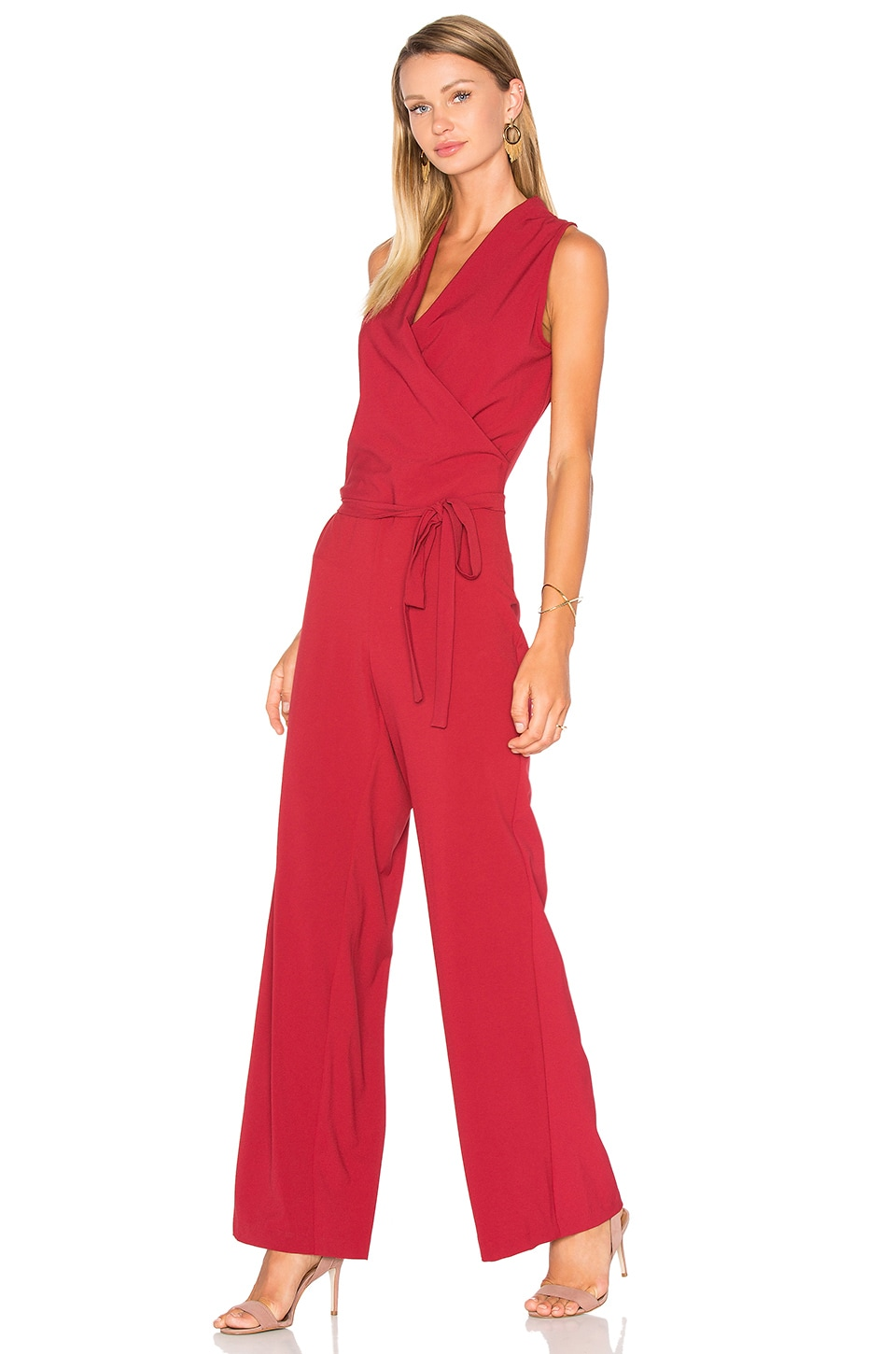 cupcakes and cashmere Margo Jumpsuit in Brick Red
