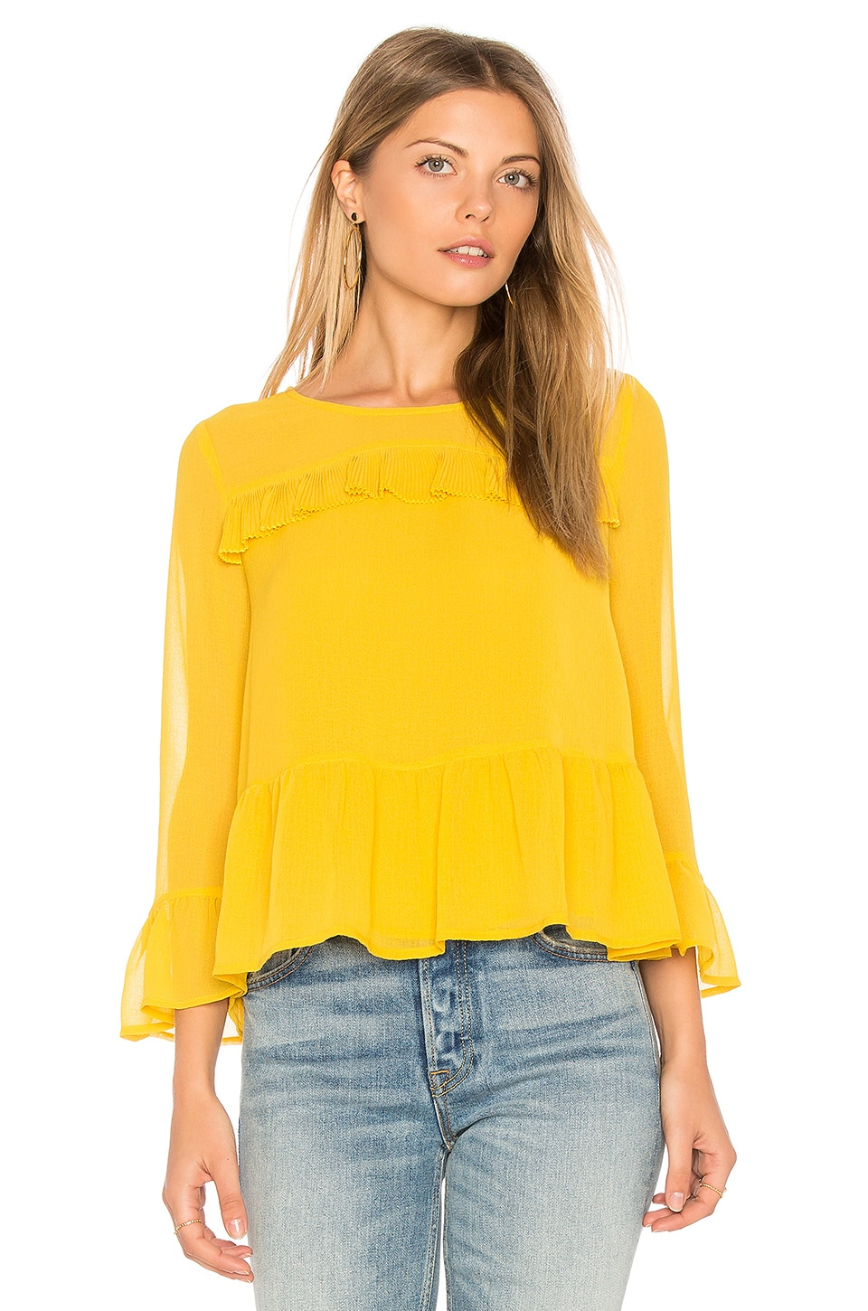cupcakes and cashmere Katlyn Top in Safron Yellow