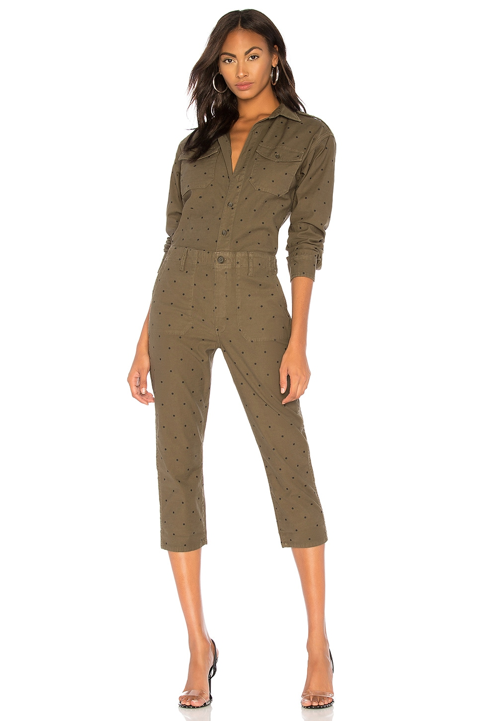 Current/Elliott The Crew Coverall in Rural Green Polka Dot