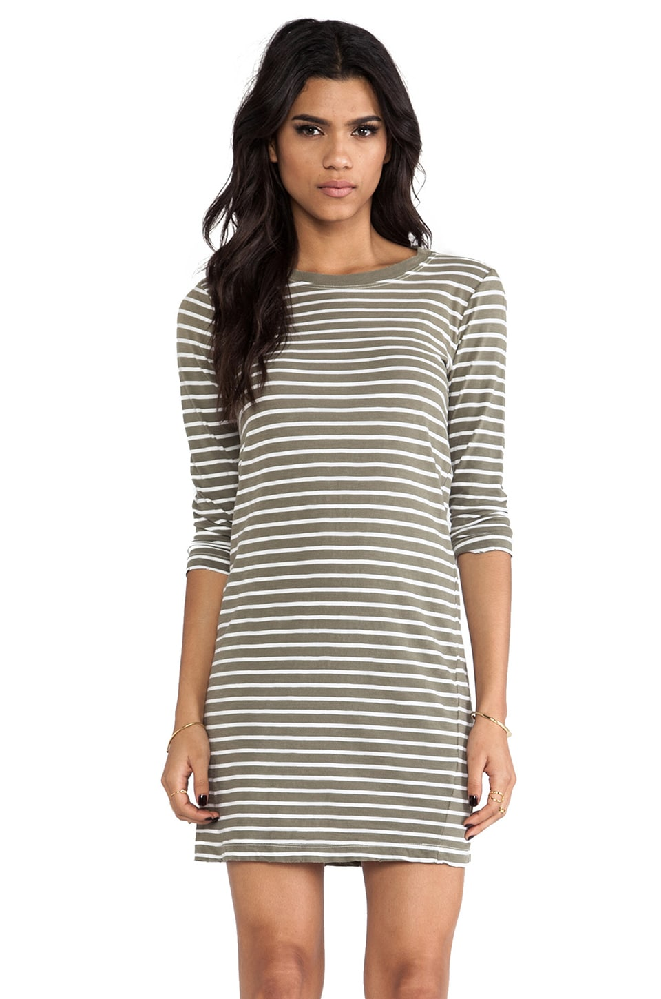 Current/Elliott The 3/4 Sleeve Tee Dress in Army Green