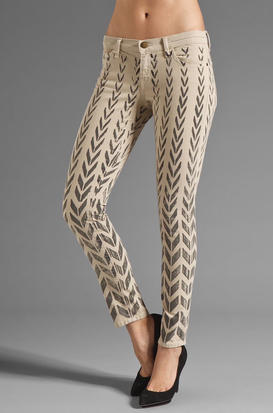 Current/Elliott The Ankle Skinny in Khaki Chevron