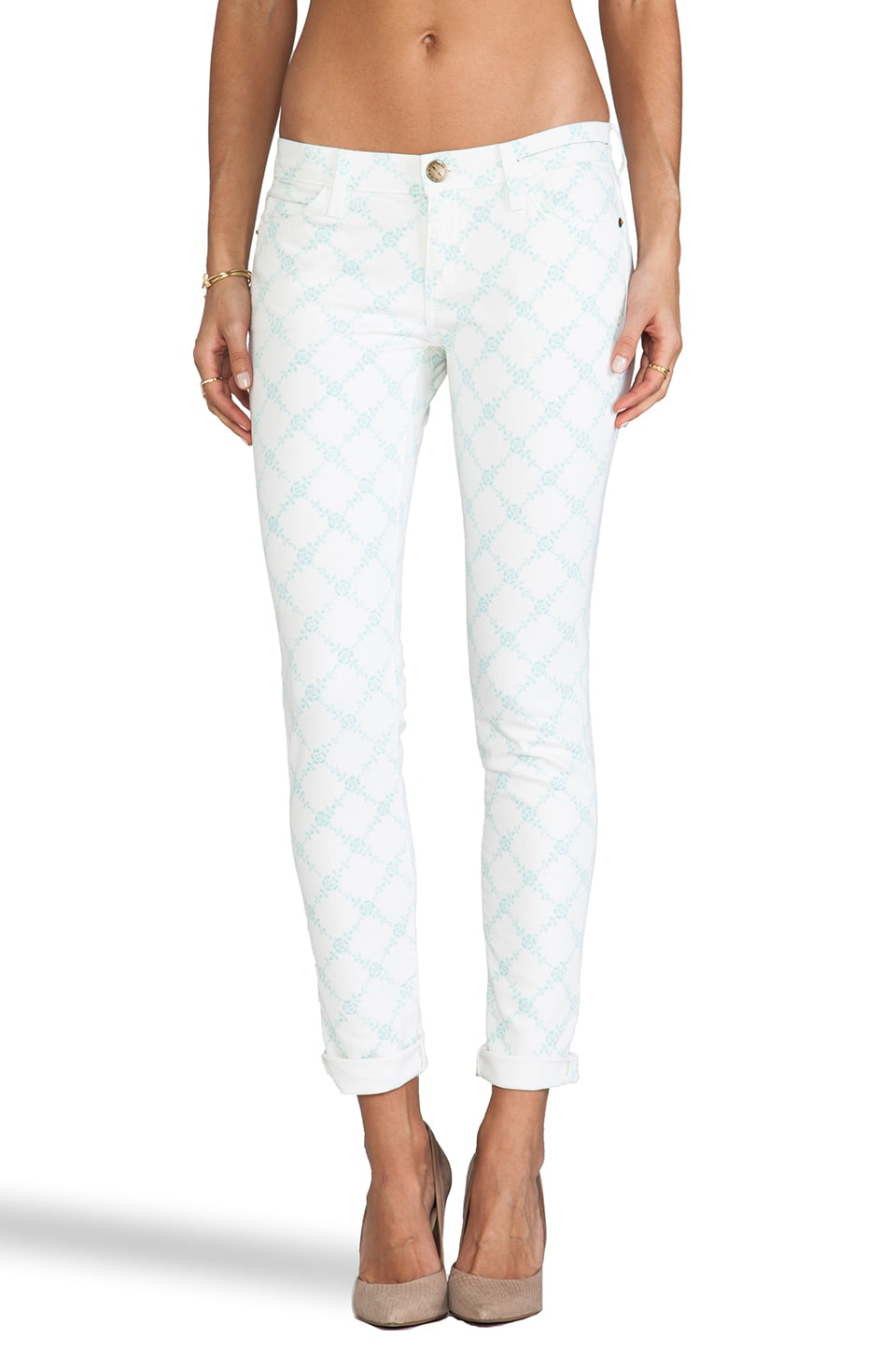 Current/Elliott The Rolled Skinny in Light Jade Rose Latice