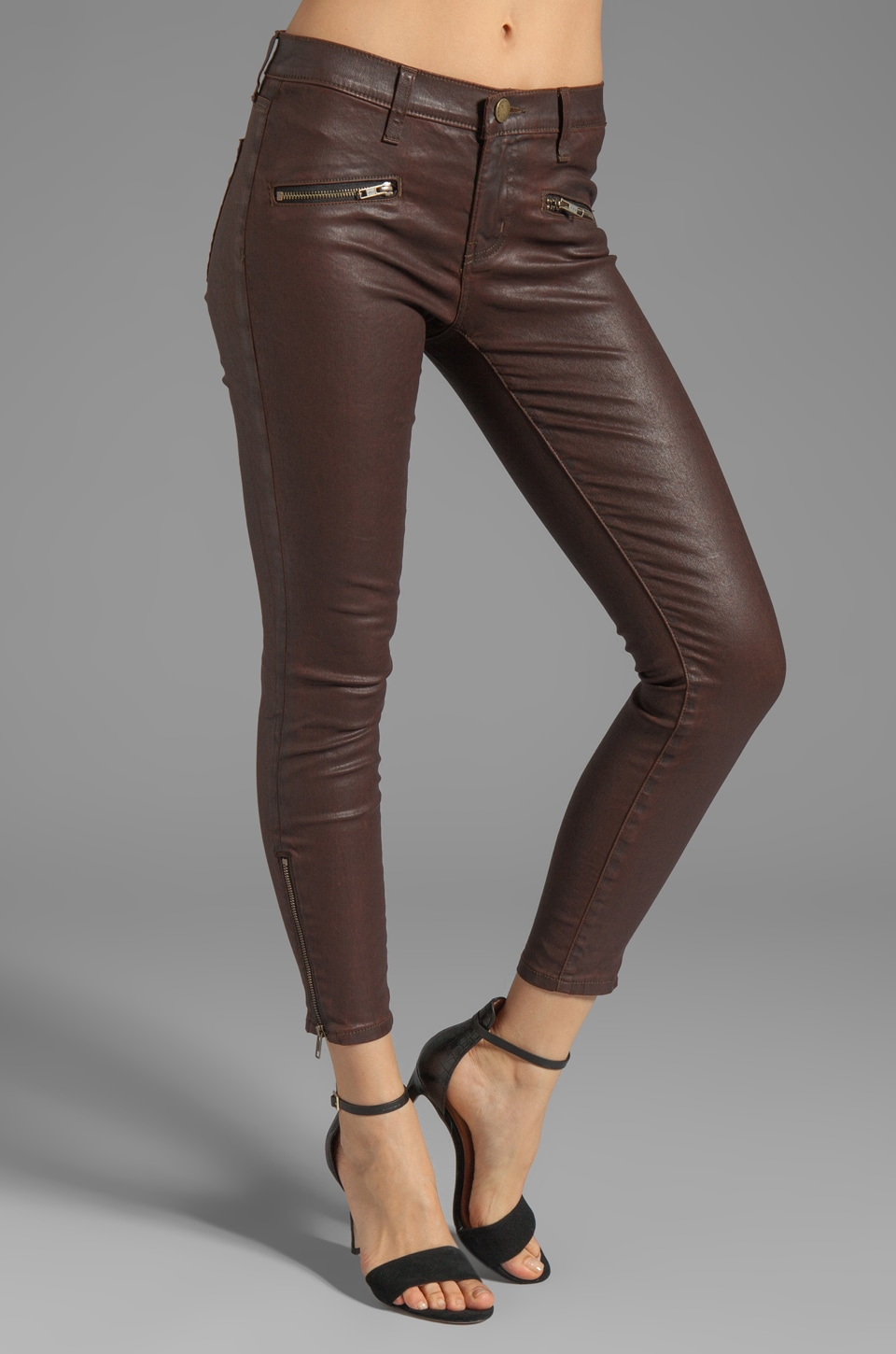 Current/Elliott The Soho Zip Stiletto in Brown Coated