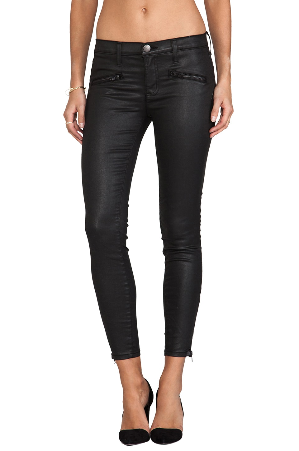 Current/Elliott Jean Soho Stiletto avec petite glissière en Black Coated