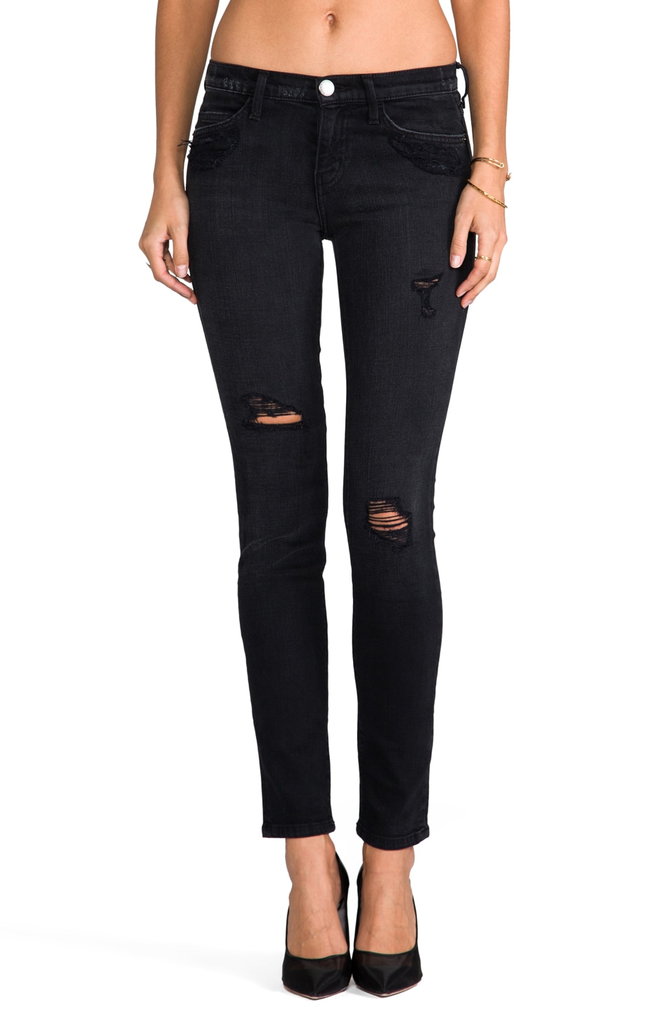 Current/Elliott The Ankle Skinny en Black Destroy