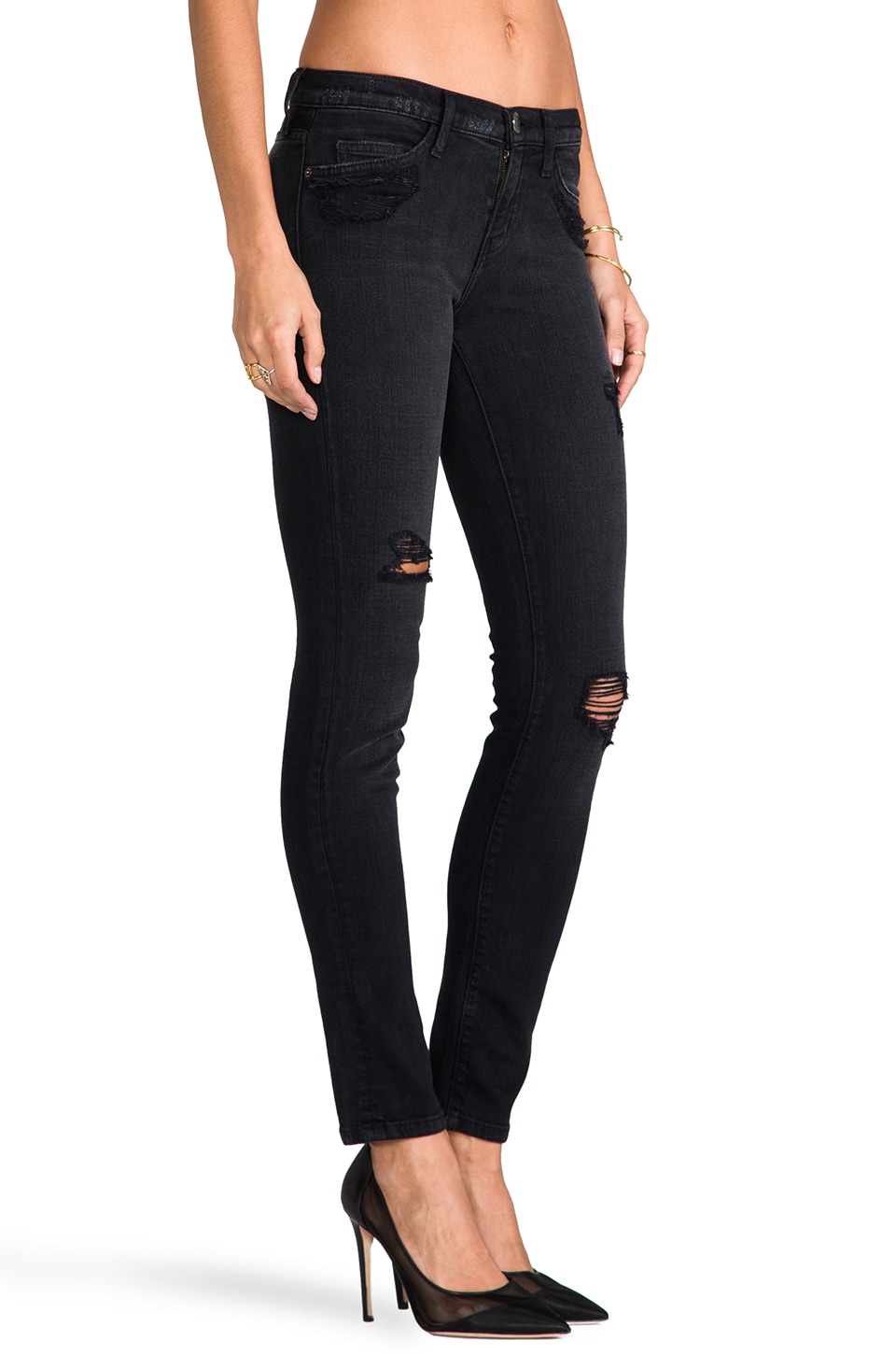 Current/Elliott The Ankle Skinny in Black Destroy