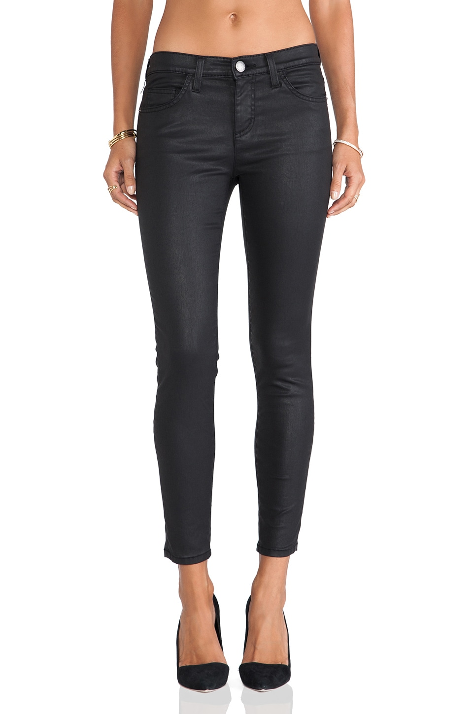 Current/Elliott The Stiletto Skinny en Black Coated