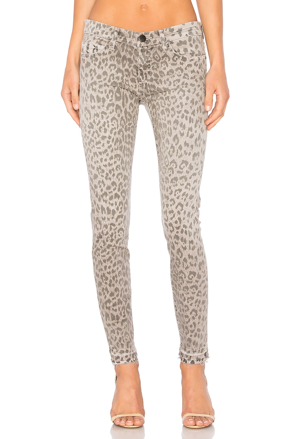 Current/Elliott The Stiletto Skinny in Grey Leopard with Released Hem