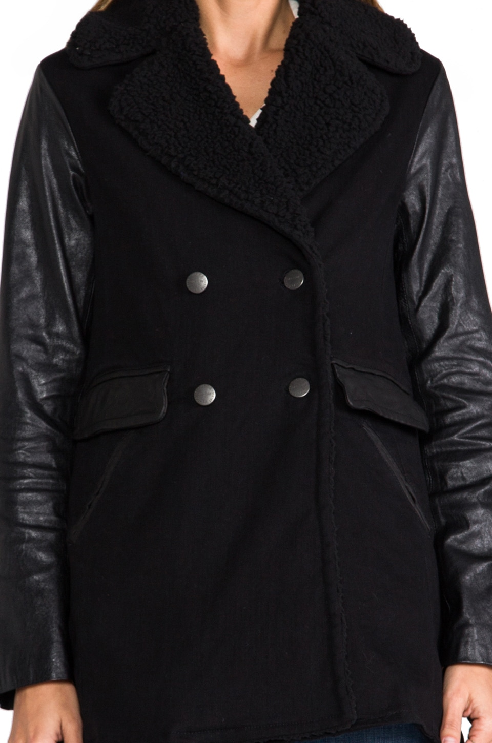 Current/Elliott The Longline Peacoat in Black