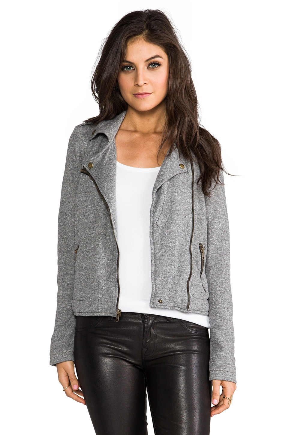 Current/Elliott The Easy Biker Jacket in Heather Grey