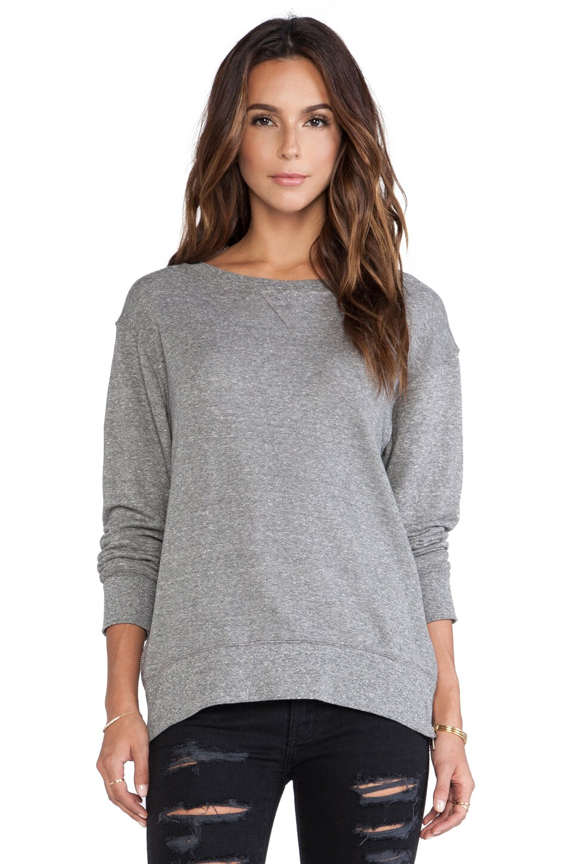 Current/Elliott The Stadium Sweatshirt with Zips in Heather Grey