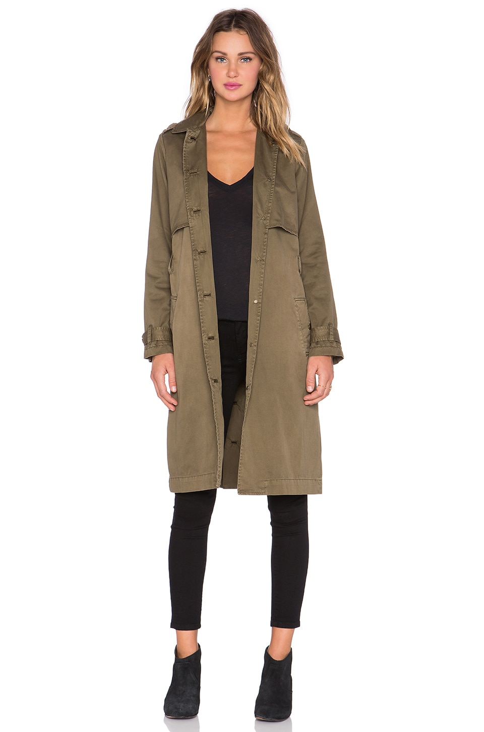 Current/Elliott The Storm Flap Trench Coat in Army Green