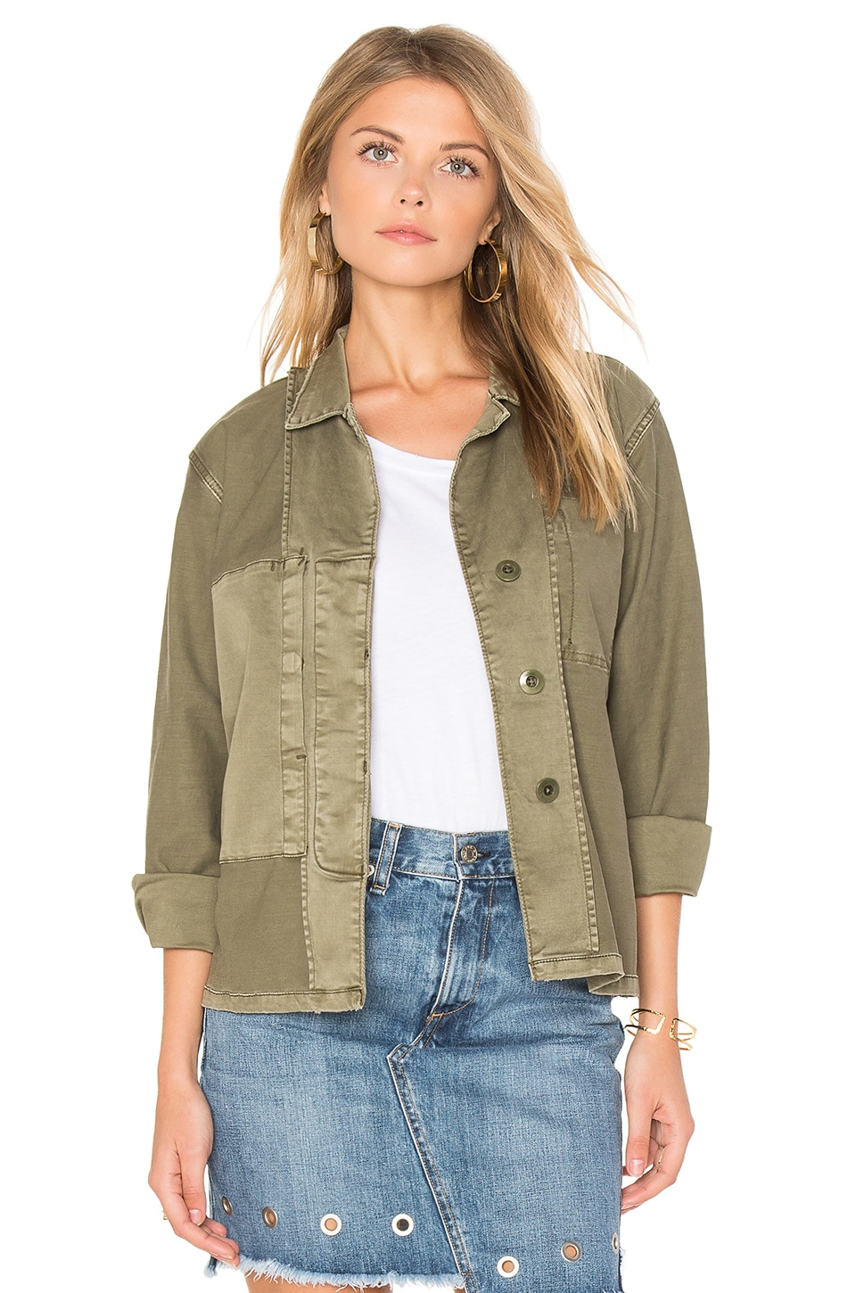 Current/Elliott The Reversed Military Shirt Jacket in Army Green