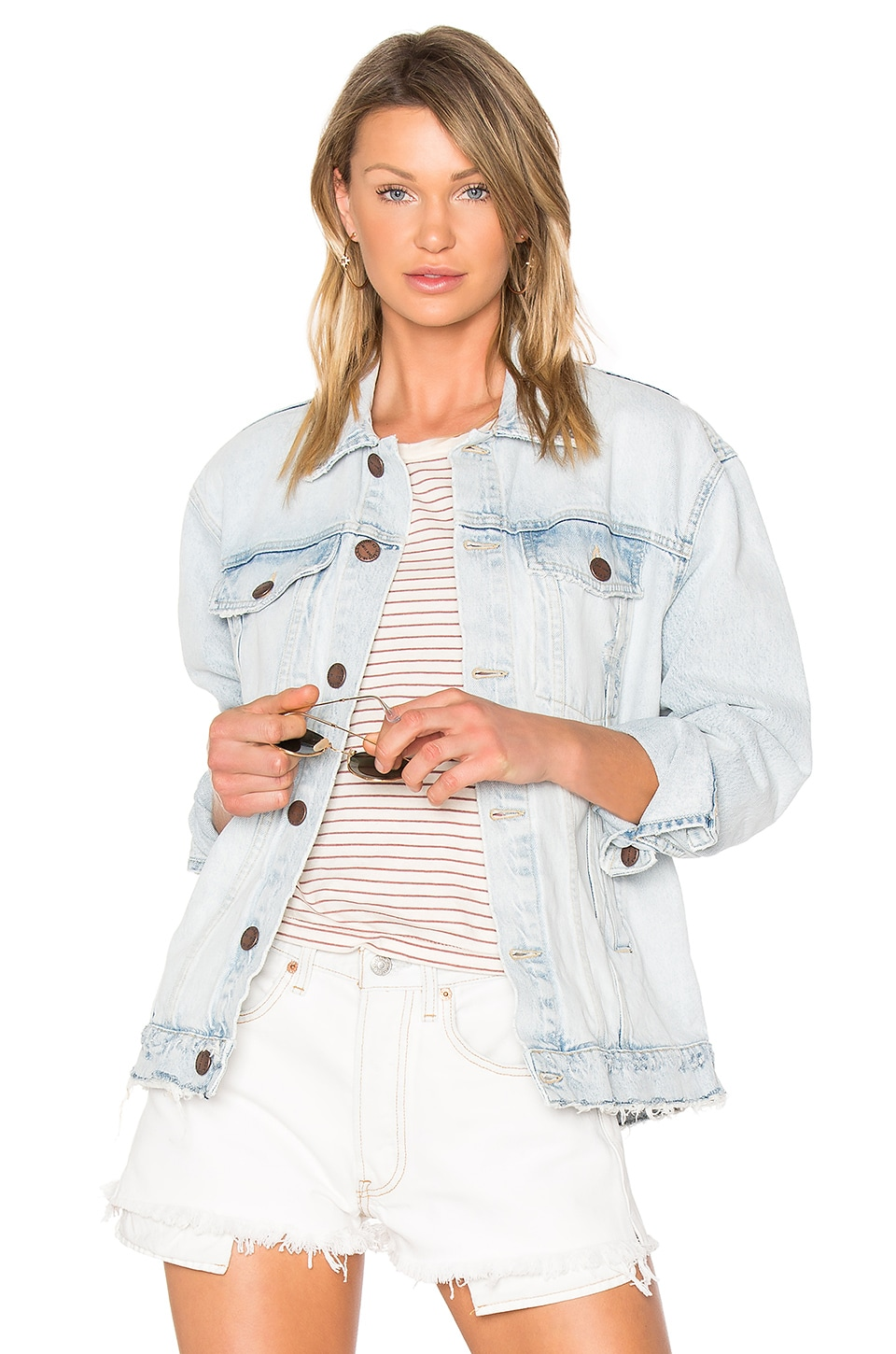 Current/Elliott The Boyfriend Trucker Jacket in Mulholland Destroy